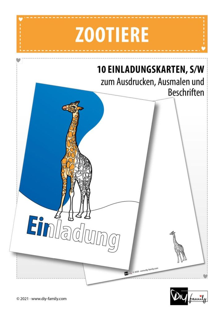 Zootiere – Einladungskarten zum Ausmalen