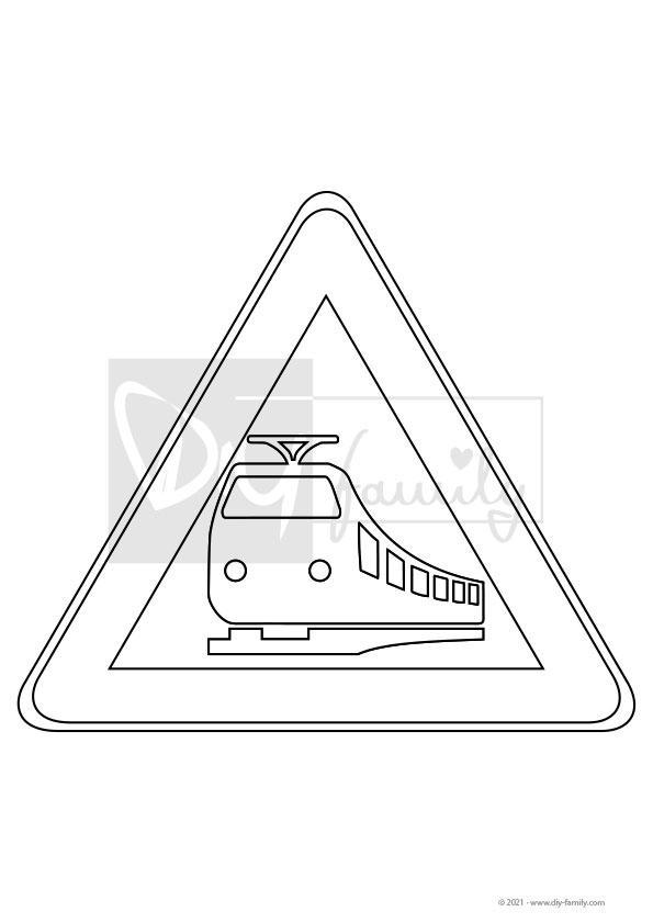 Achtung Bahnübergang – Einzelausmalvorlage