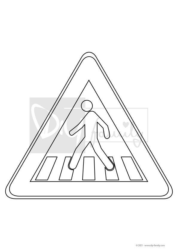 Achtung Fußgängerüberweg – Einzelausmalvorlage