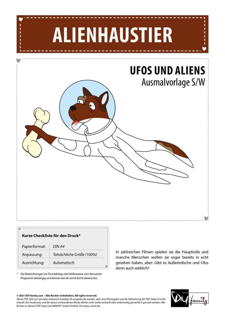 Alienhaustier – Einzelausmalvorlage