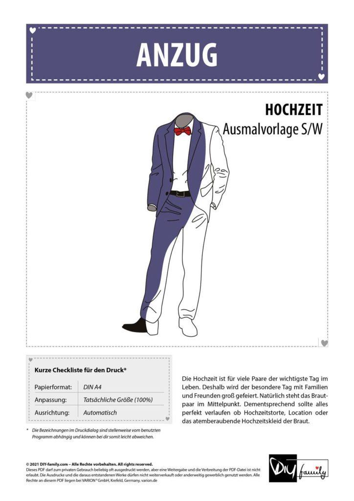 Anzug – Einzelausmalvorlage