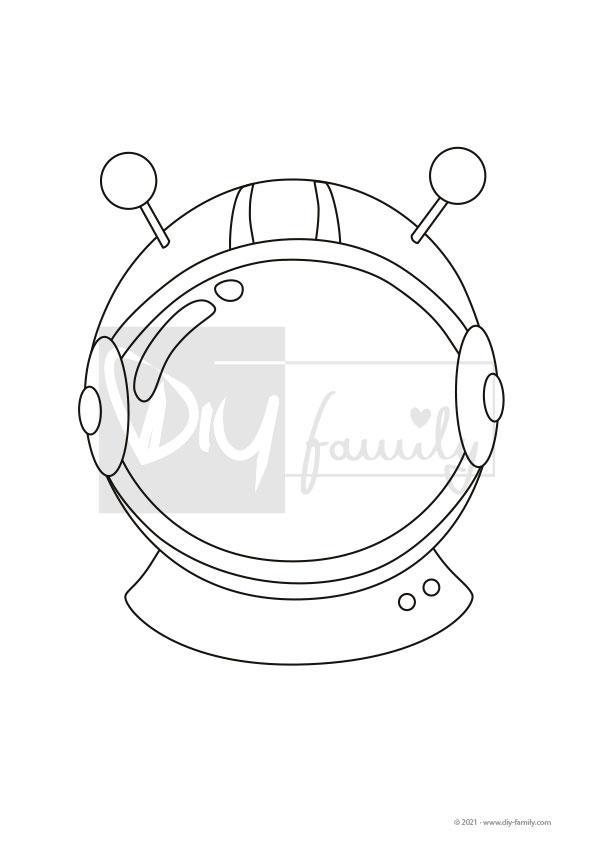 Astronautenhelm – Einzelausmalvorlage