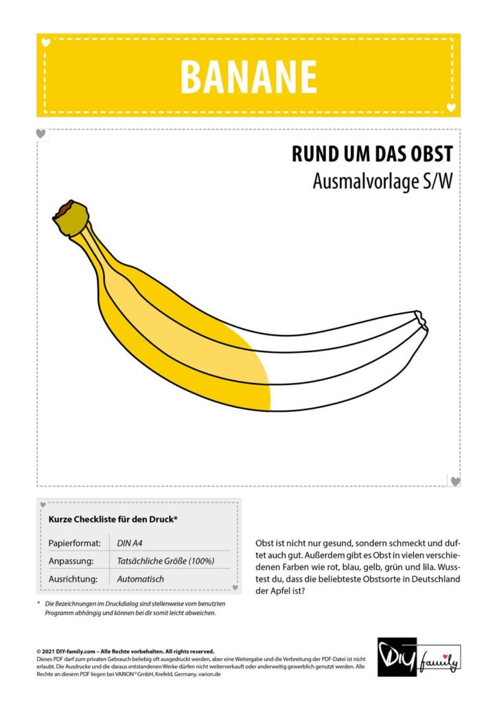 Banane – Einzelausmalvorlage