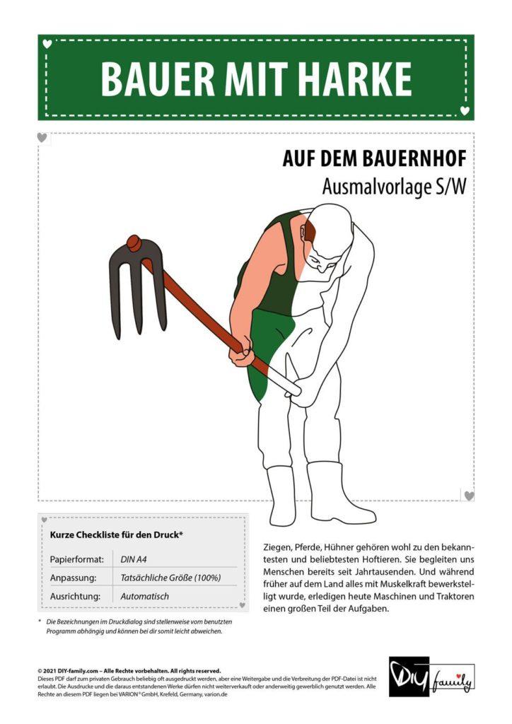 Bauer mit Harke – Einzelausmalvorlage