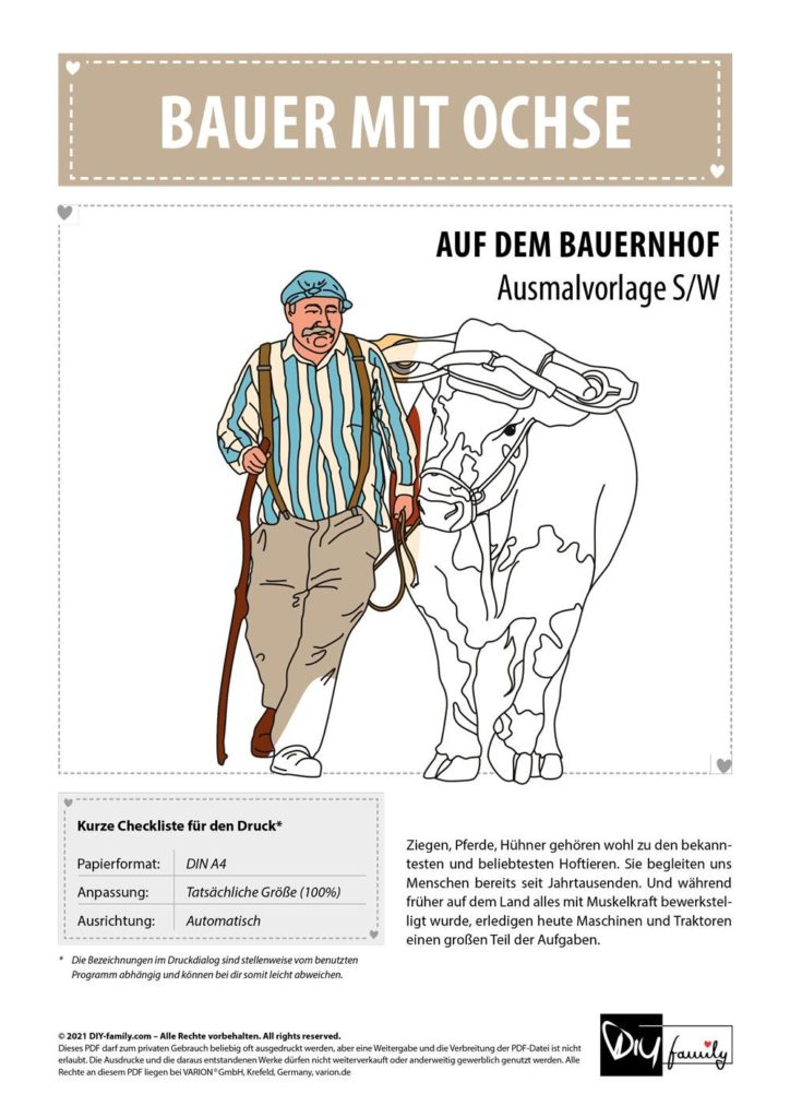 Bauer mit Ochse – Einzelausmalvorlage