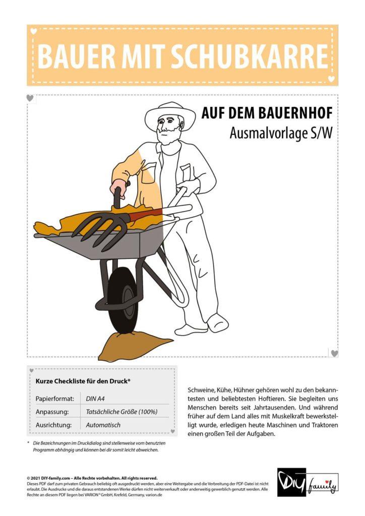 Bauer mit Schubkarre – Einzelausmalvorlage
