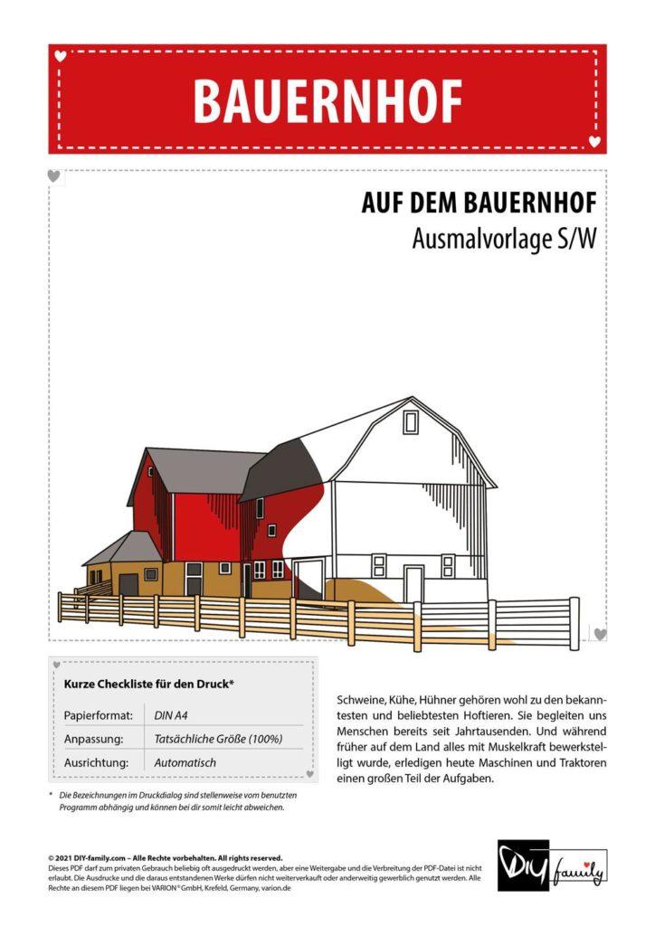 Bauernhof – Einzelausmalvorlage