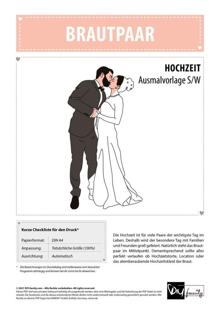 Brautpaar – Einzelausmalvorlage