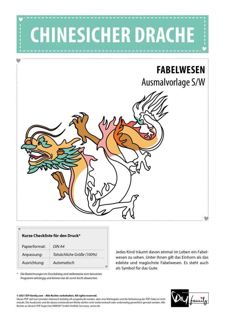 Chinesischer Drachen – Einzelausmalvorlage