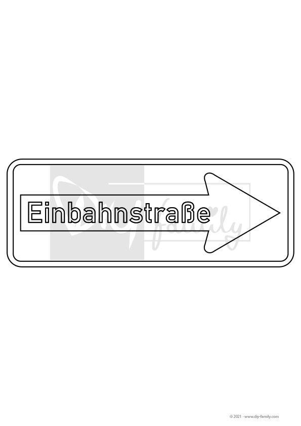 Einbahnstraße – Einzelausmalvorlage