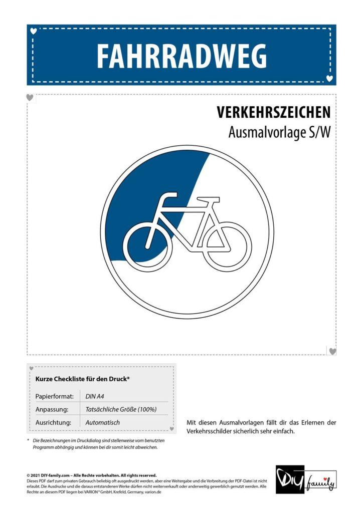 Fahrradweg – Einzelausmalvorlagen