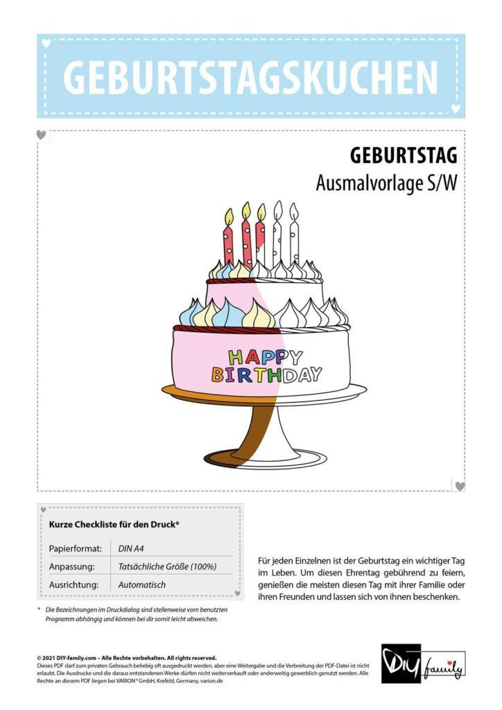 Geburtstagskuchen – Einzelausmalvorlage