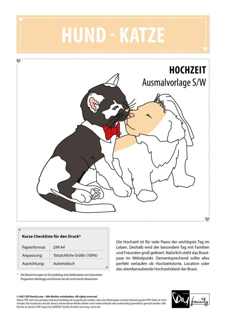 Hund Katze Brautpaar – Einzelausmalvorlage