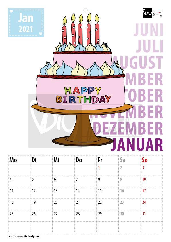 Geburtstag – Kalender 2021