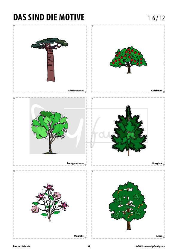 Bäume – Kalender zum Ausdrucken, Ausmalen und Beschriften