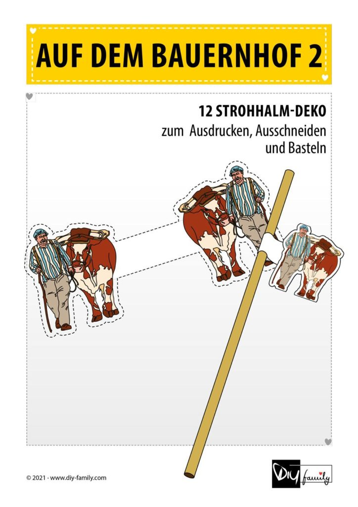 Bauernhof 2 – Strohhalmanhänger zum Ausdrucken und Basteln