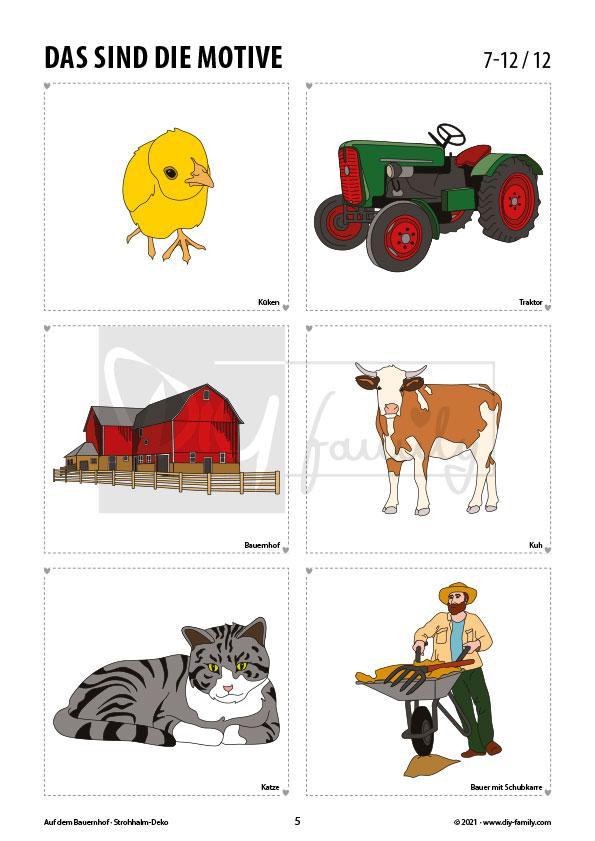 Bauernhof 1 – Strohhalmanhänger zum Ausdrucken und Basteln