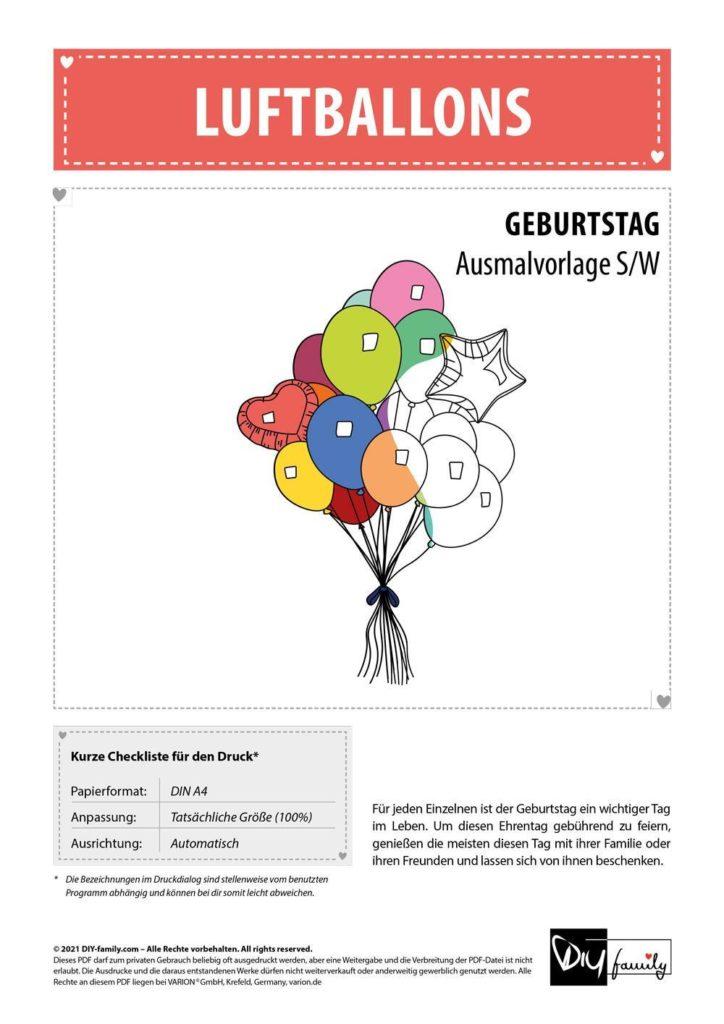 Luftballons – Einzelausmalvorlage