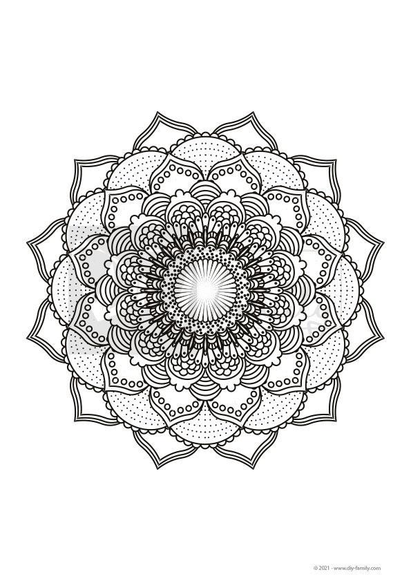 Lotus Mandala – Einzelausmalvorlage