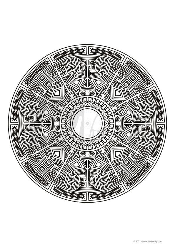 Maya Mandala – Einzelausmalvorlage