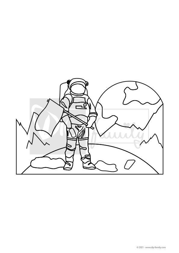 Mondlandung – Einzelausmalvorlage