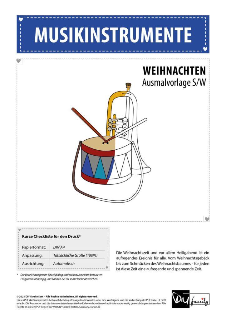 Musikinstrumente – Einzelausmalvorlagen