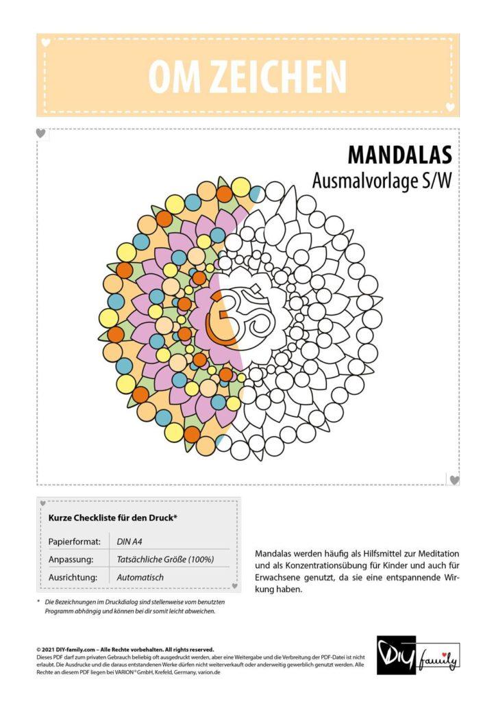Om Zeichen Mandala – Einzelausmalvorlage