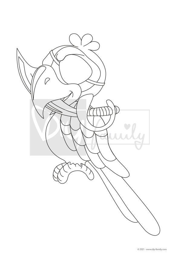 Papagei – Einzelausmalvorlage