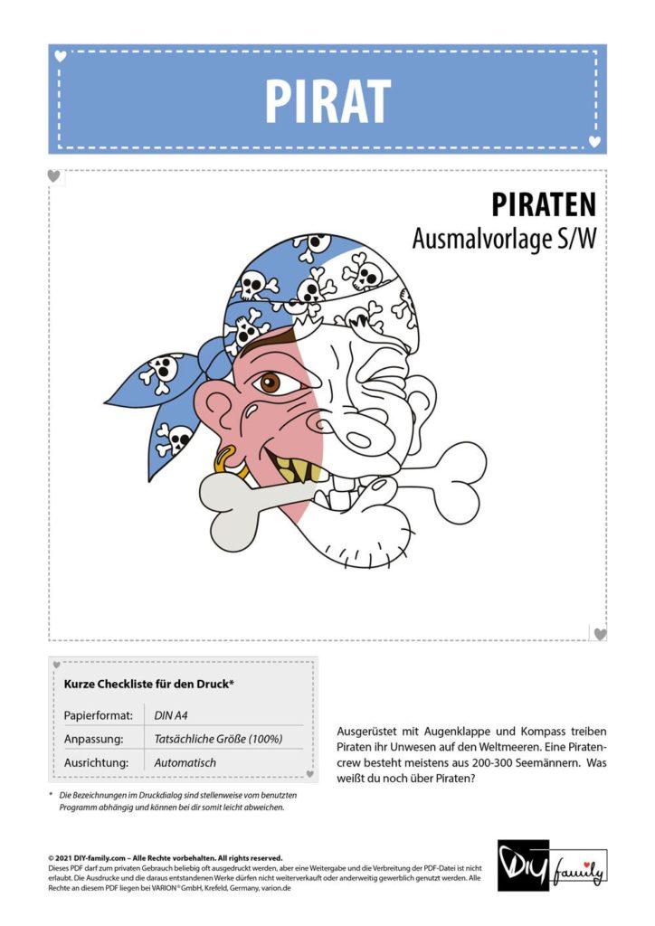 Pirat – Einzelausmalvorlage