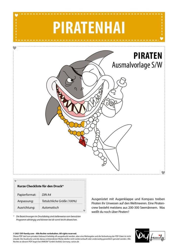 Piratenhai – Einzelausmalvorlage