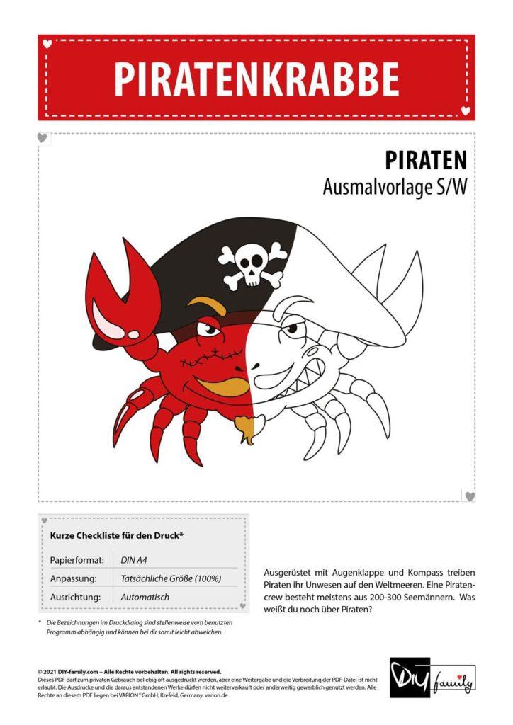 Piratenkrabbe – Einzelausmalvorlage