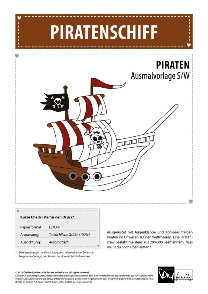 Piratenschiff – Einzelausmalvorlage