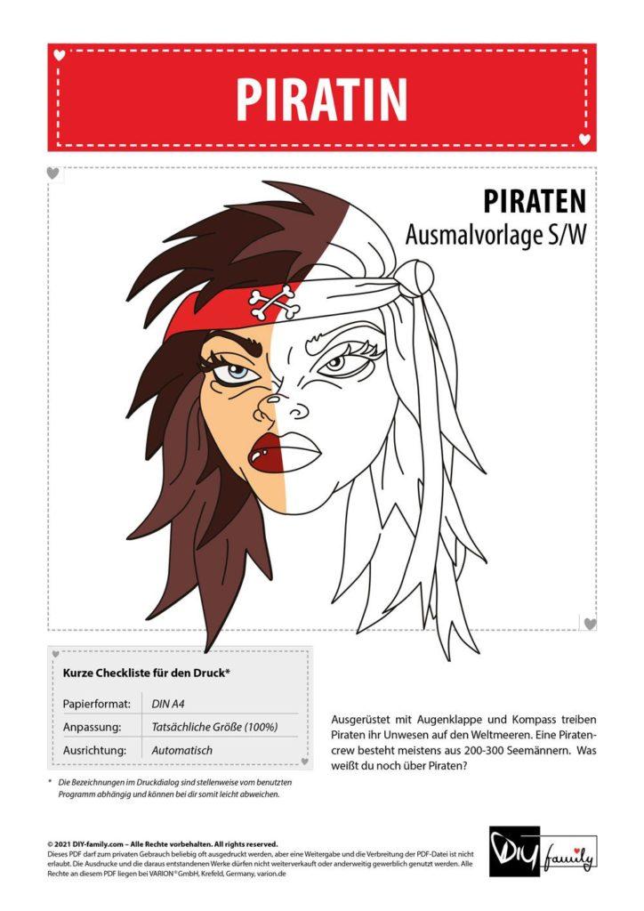 Piratin – Einzelausmalvorlage