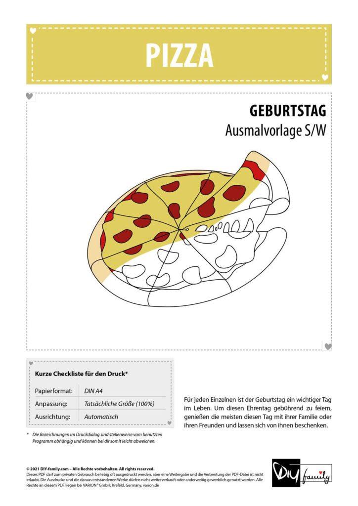 Pizza – Einzelausmalvorlage