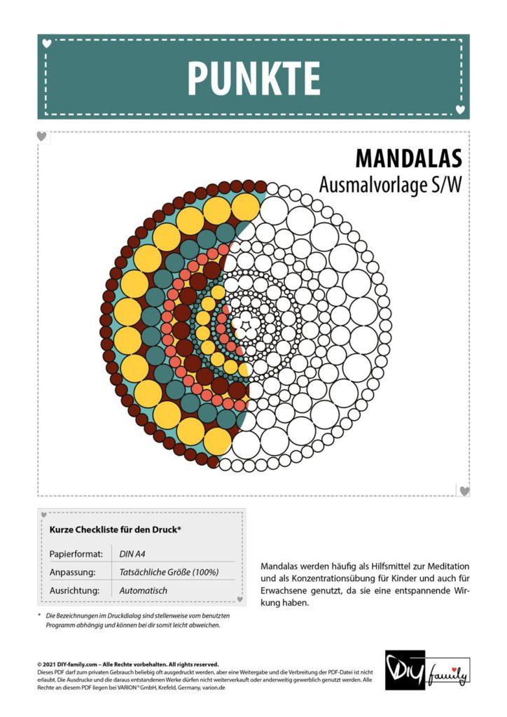 Punkte Mandala – Einzelausmalvorlage