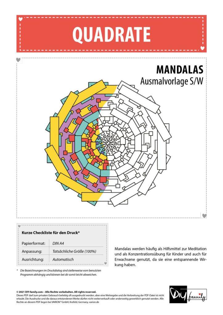 Quadrate Mandala – Einzelausmalvorlage