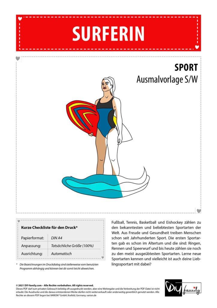 Surfen – Einzelausmalvorlage