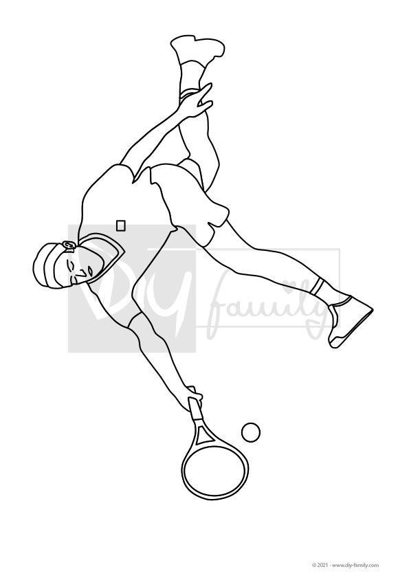 Tennis – Einzelausmalvorlage