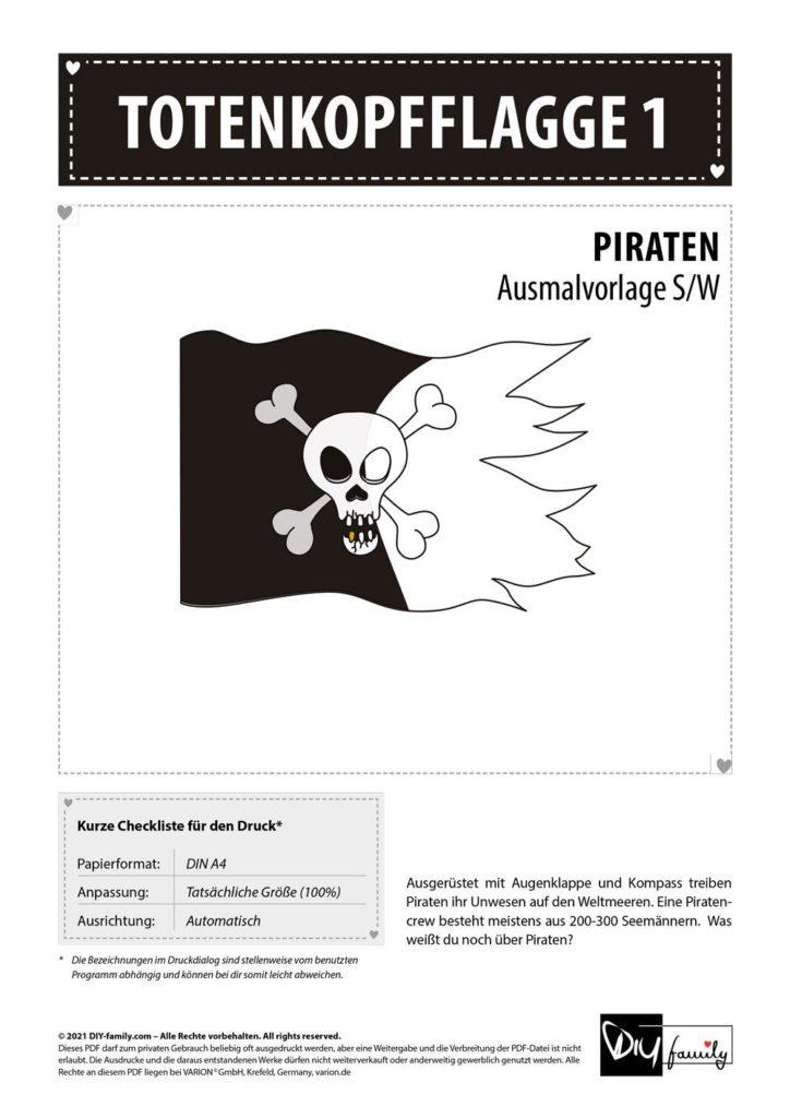 Totenkopfflagge 1 – Einzelausmalvorlage