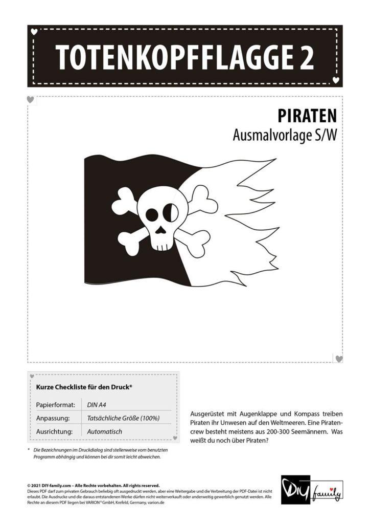 Totenkopfflagge 2 – Einzelausmalvorlage