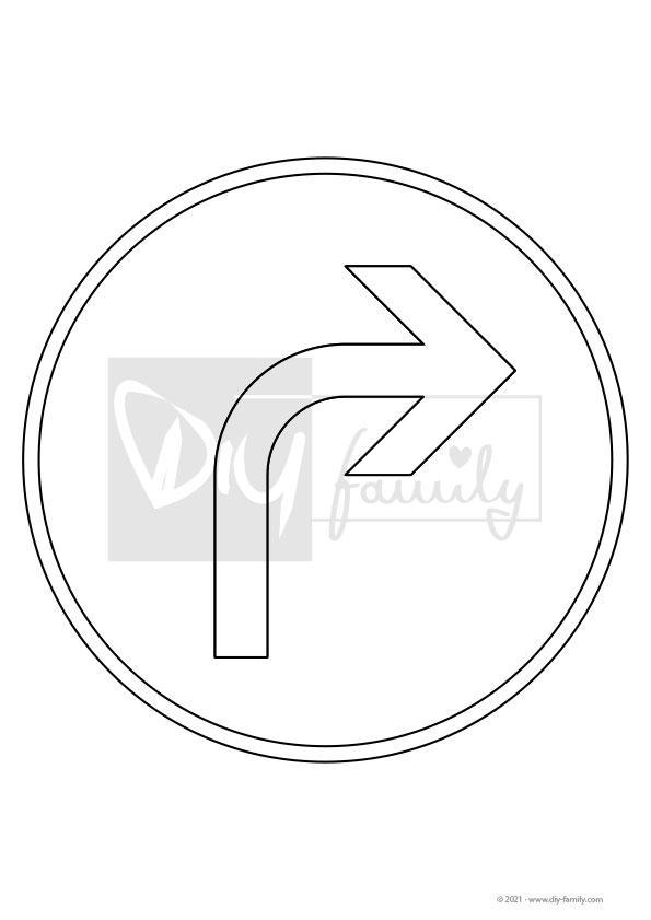 Vorgeschriebene Fahrtrichtung – Einzelausmalvorlagen