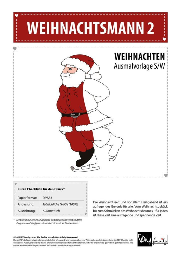 Weihnachtsmann 2 – Einzelausmalvorlagen